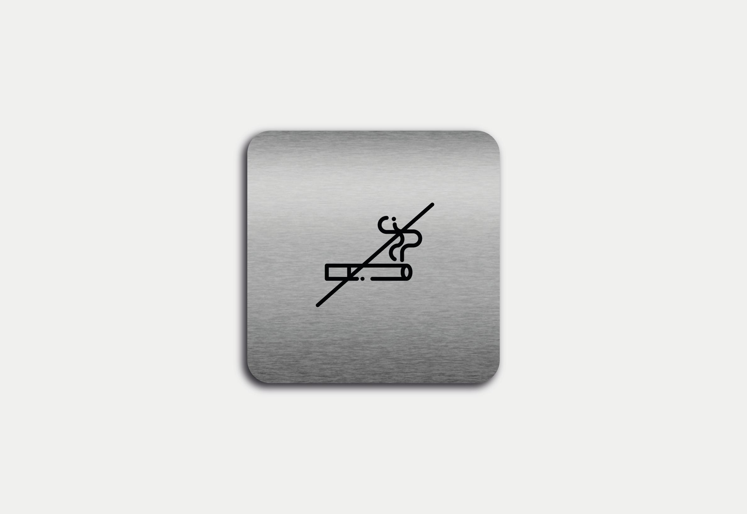 """Placa em ACM com figura """"Proibido Fumar"""""""