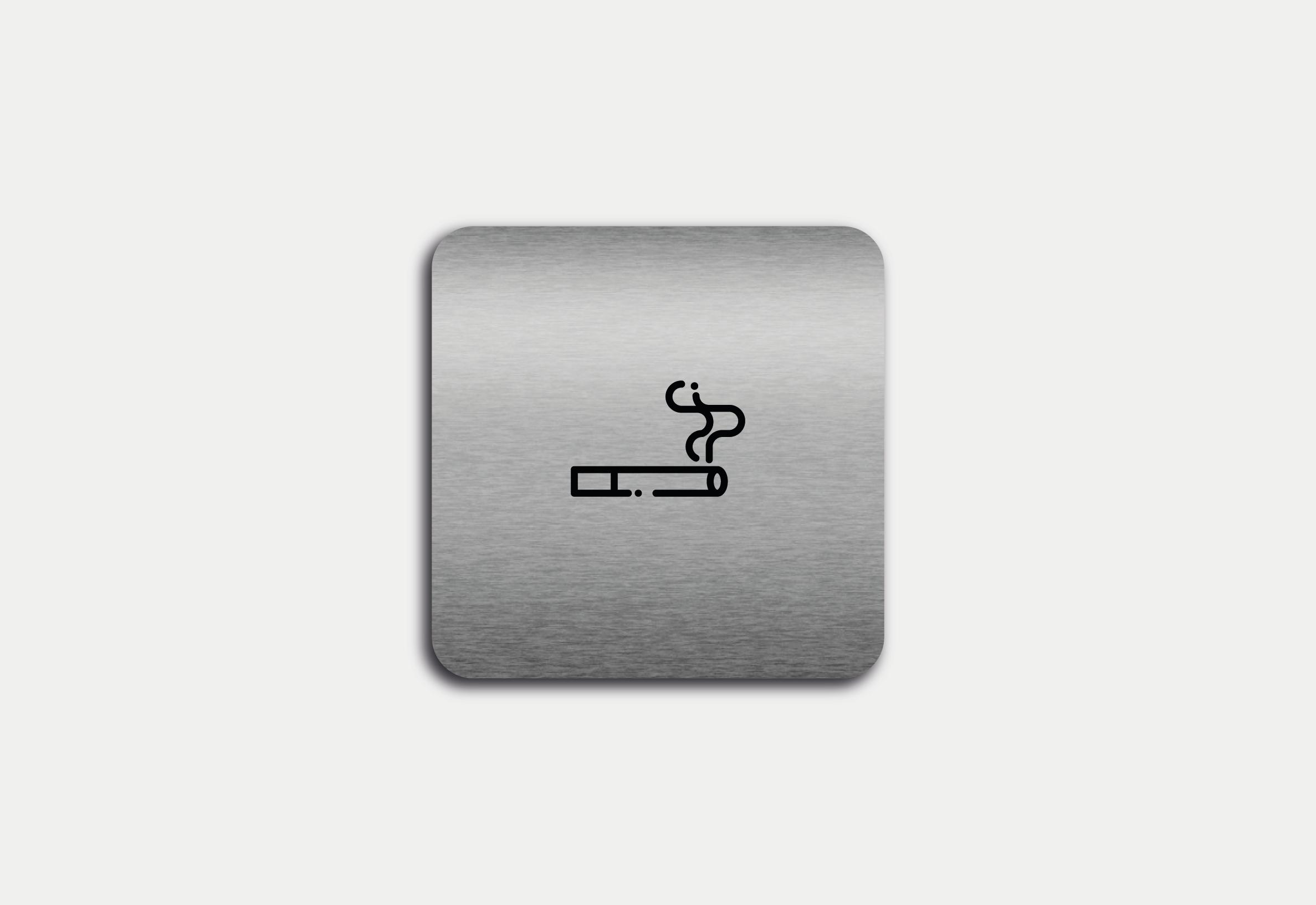 """Placa em ACM com figura """"Permitido Fumar"""""""