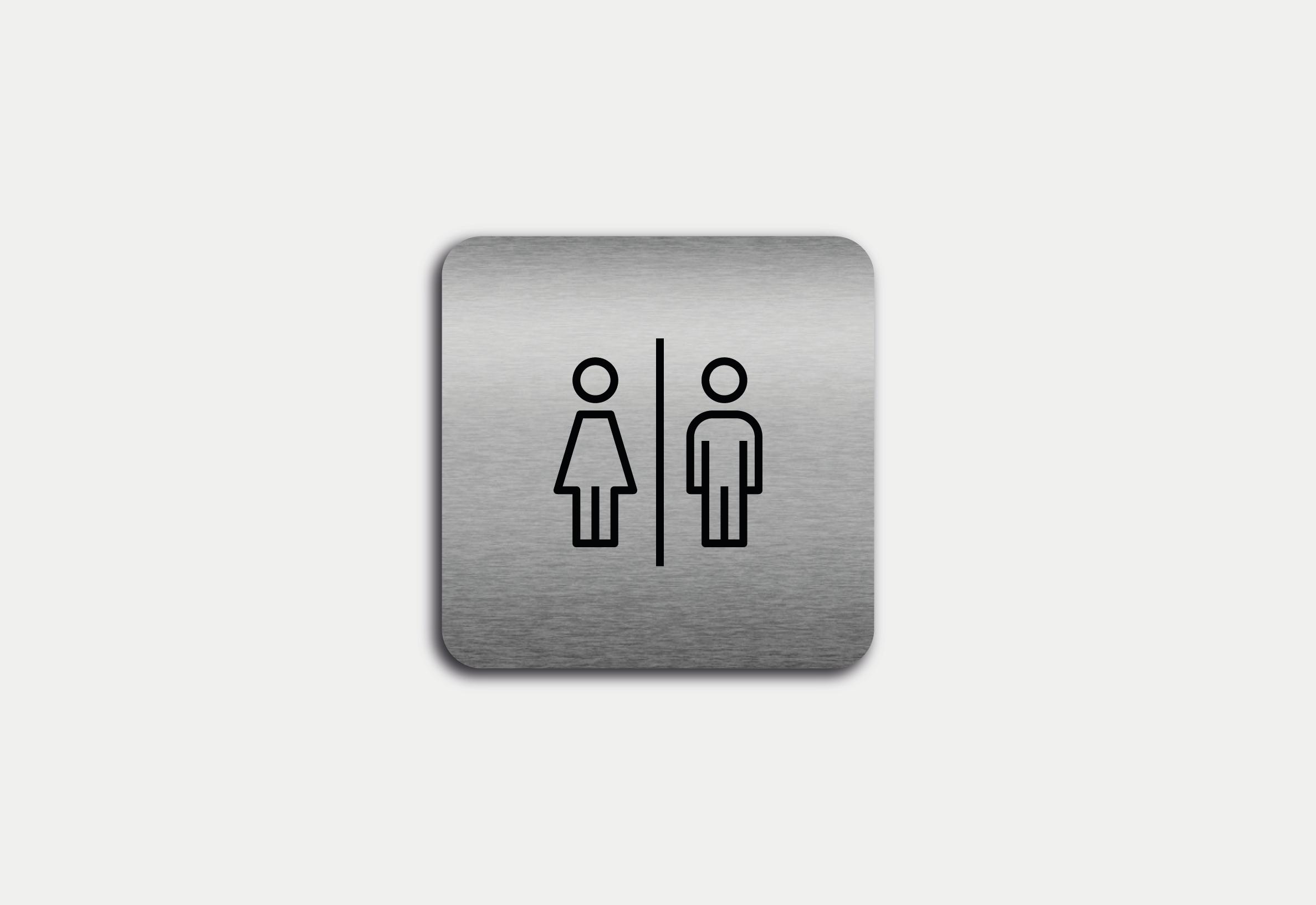 """Placa em ACM com figura """"Homem e Mulher"""""""