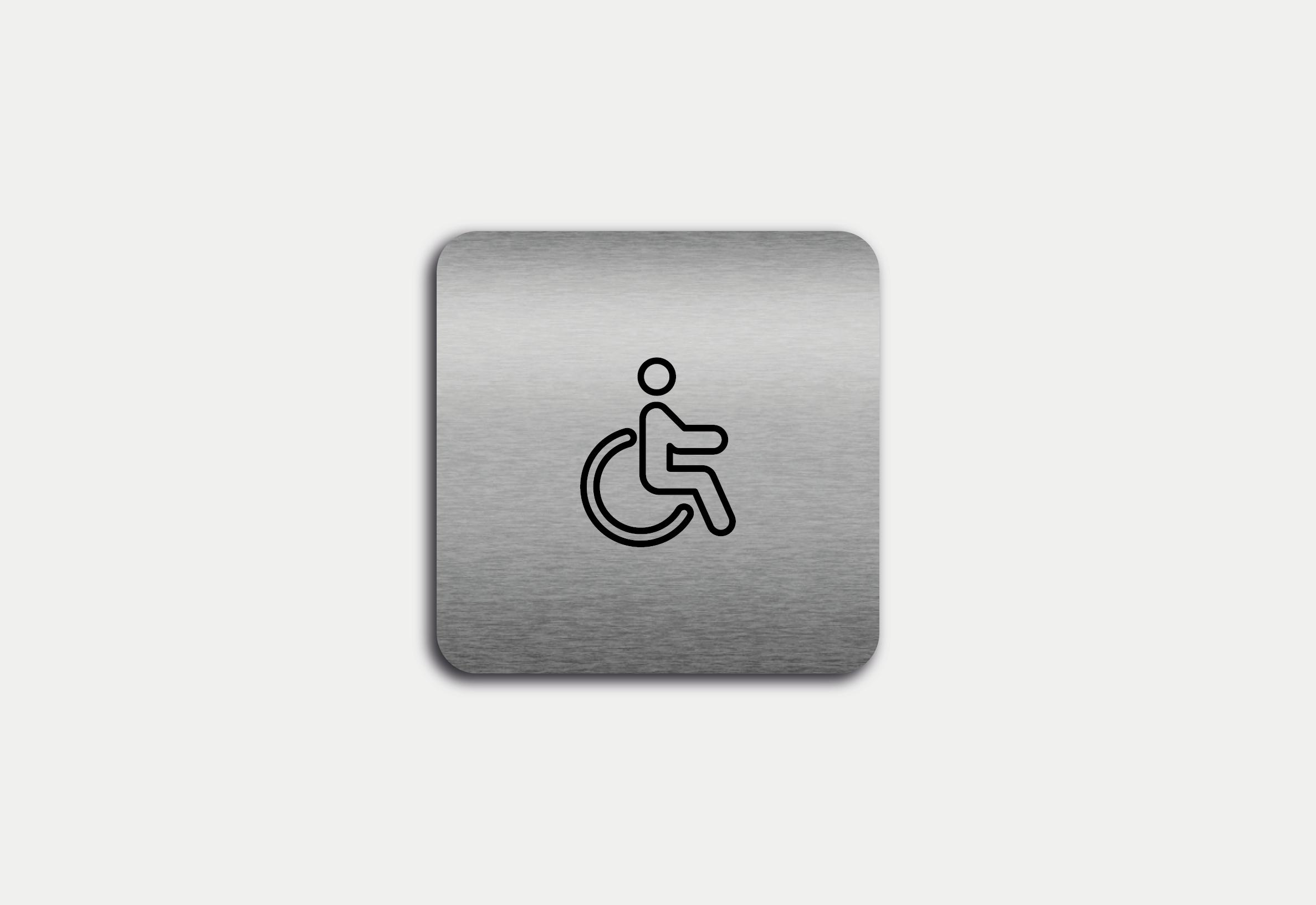 """Placa em ACM com figura """"WC Mobilidade Reduzida"""""""
