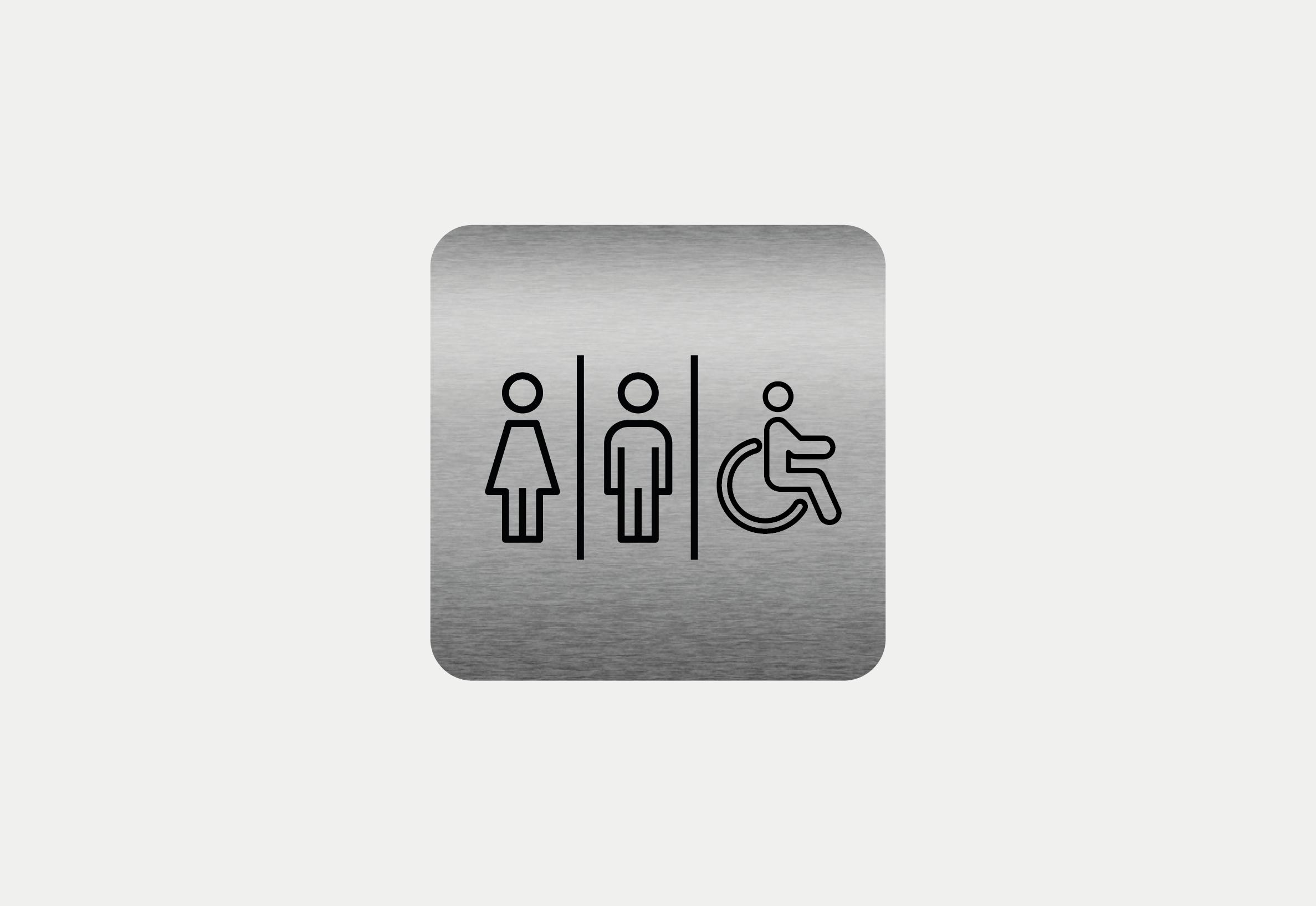 """Placa em ACM com figura """"WC"""""""